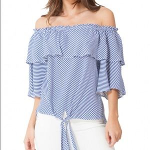 Hale Bob: Striped Off-the-Shoulder Ruffle Top